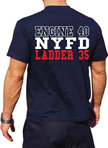 feuer1 Caveman T-shirt fonctionnel Bleu marine avec protection UV 30+ NYFD (E-40/L-35)