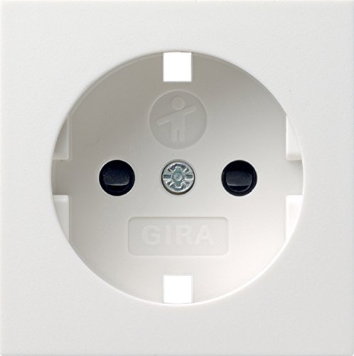 Gira Ersatz-Abdeckung für Schuko-Steckdose mit integriertem erhöhten Berührungsschutz KS und Symbol - System 55 Reinweiß glänzend