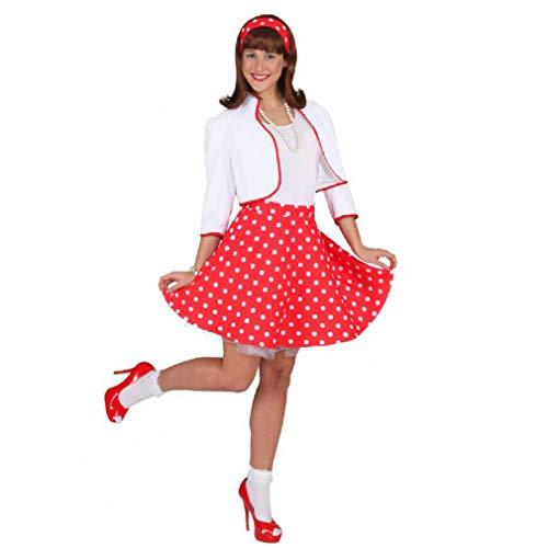 Rock 'n Roll Rock m. Petticoat rot,weiß gepunktet, Größe:38-40