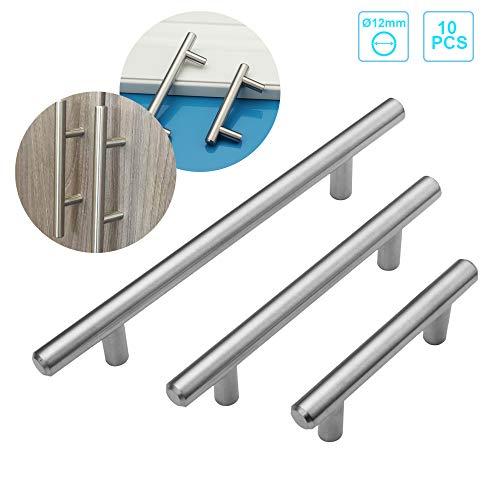 Froadp 10er Silber Schubladegriff Möbelgriffe aus Gebürsteter Edelstahl Gebürstet Möbel Küchenzubehör Türgriff(Ø12mm×128mm)