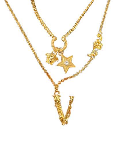 Mode Medusa Anhänger Golden Legierung Ketten für Damen Frauen Griechisches Porträt chain Persönlichkeit Multi-Element-Halskette setzen Damen Halskette (1 Pc) (C)