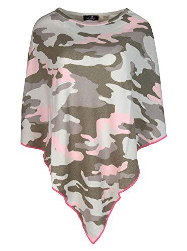 Zwillingsherz Poncho mit Kaschmir im Camouflage Design - Hochwertiges Cape für Damen Mädchen - XXL Umhängetuch und Tunika - Strick-Pullover - Sweatshirt - Frühjahr Sommer Herbst und Winter - rosa