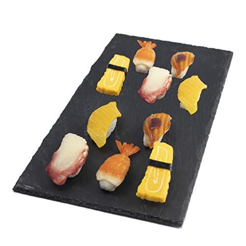 2 Pcs Sushi Plates Set 40 x 20 cm 157 x 78 in Slate Flat Rectangular Sushi Serving Tray Plates Black Stone Rock Style Cheese Board Platter