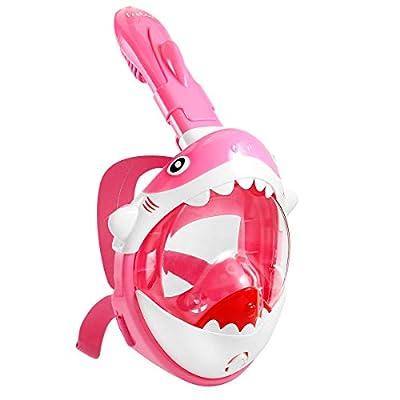 Frebw Safety Full Face Snorkel Mask for Kids, Foldable 180 Degree Panoramic Anti-Fog Anti-Leak Free Breathing Shark Diving Mask for Kid Boy Girl, Pink