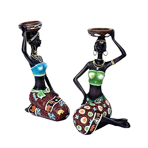 African Women Shaped Resin Candlestick, Free-standing DIY Ornament for Home Decoration 0604