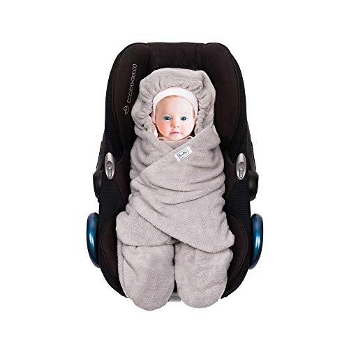 SWADDYL ® Fußsack Einschlagdecke I Baby Wintersack I Babydecke für Babyschale, Kinderwagen - für Winter aus Fleece/Baumwolle (Weiß)