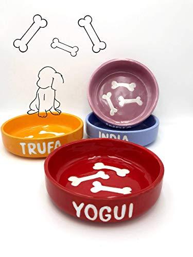 CreativePets - Comedero pequeño personalizado para perros en cerámica, con dibujo de huesos.
