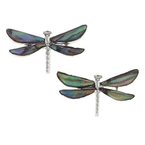 Pendientes de libélula Kiara Jewellery, incrustados con concha de abalón naturalColor plata, antideslustre, hipoalergénico, chapado en rodio.