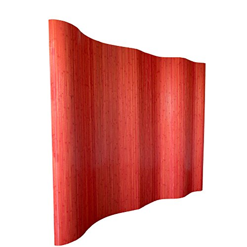 Homestyle4u 304, Raumteiler Bambus, Wellenform Rollbar, Rot Matt, BxH 250x200 cm