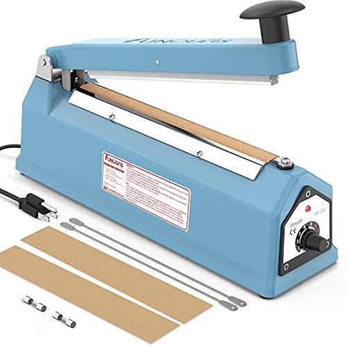 FUNOURS Heat Sealer 8-inch Impulse Bag Sealer Sealing Machine Packing Seal Closer Fresh Handheld Sealer (blue, 8-inch)