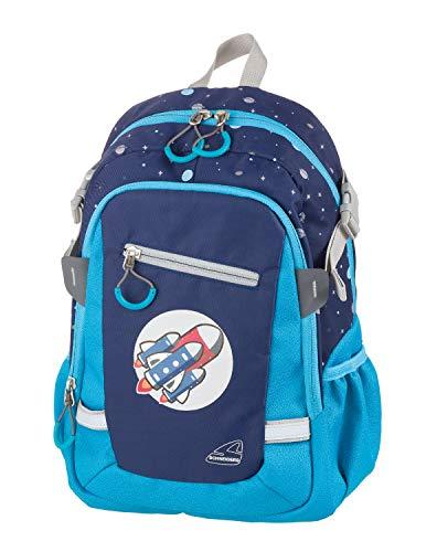 Schneiders 49451-070 - Kinderrucksack mit Hauptfach, Mittelfach und Vordertasche, 2 Seitentaschen, Motiv Rakete, ca. 25 x 35 x 12 cm, für Alltag, Freizeit und auf Reisen