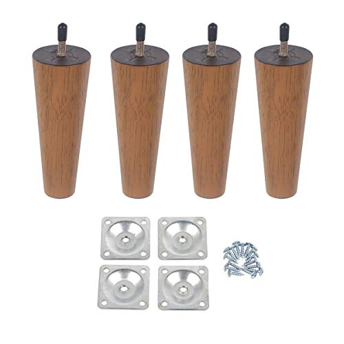 Action Club 6 inch Wood Furniture Legs Round Tapered Replacement Sofa Legs, Set of 4, Mid-Century Modern Perfect For Sofa, Couch, Ottoman, Bed,Coffee Table