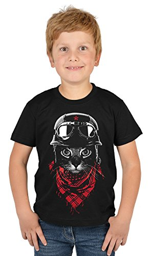 Motiv-Jungen-Shirt/Kinder-Shirt mit Katzen-Druck: Adventurer Cat - tolles Geschenk- Cooler Look/kräftige Farben