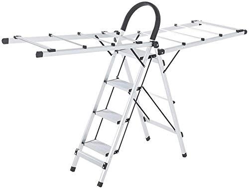 Multifunctionele ladder Metal Vier Step Ladder, Meerdere toepassingen Kledingrek Handdoek/Deken/Quilt/Schoenen Droogrek - Opvouwbaar ontwerp / 2 Kleuren Huishoudelijke ladder Ladder huis vouwen