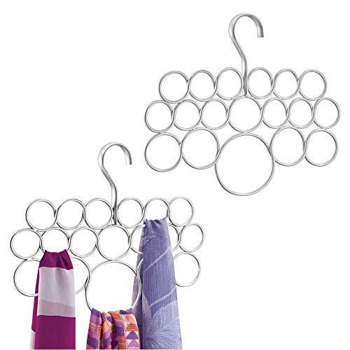 mDesign porte-foulard – rangement foulard pour écharpes et foulards – pack de 2 – cintre foulard avec 18 anneaux – couleur : argent perle