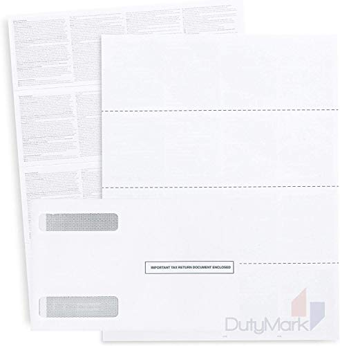 W-2 Forms 2019 Designed for Quick Books Online 25 Employee Kit of 4-Up Horizontal Blank Laser Tax Forms, with Back Instructions, 25 Self Seal Envelopes Included