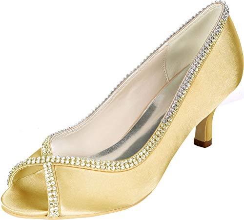 Sandalias de tacón de gatito con diamantes de imitación para mujer, para...