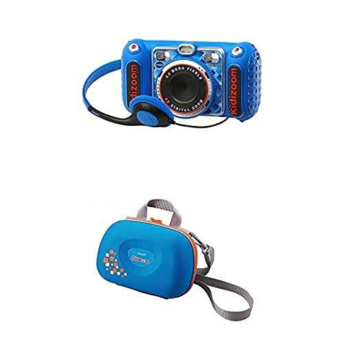 VTech - Kidizoom Duo DX Cámara Digital para Niños, Color Azul (3480-520022) y Funda (3480-201803)