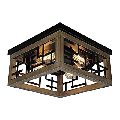 Rviezza 4 Lights Wood and Metal Flush Mount Ceiling Light, Farmhouse Industrial Rustic Ceiling Lighting Fixtures for Hallway Bedroom Kitchen Entryway, Square Wire Cage Close to Ceiling Lighting