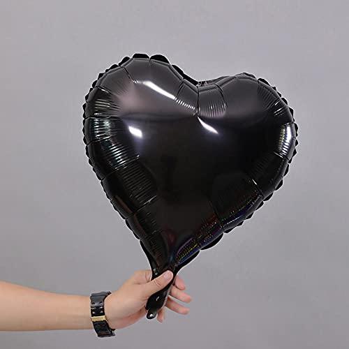 POTTBONS Globo de papel de aluminio papel de aluminio 15 pulgadas en forma de corazón para bodas, cumpleaños, globos de decoración para fiestas (10 piezas) - negro 10 piezas
