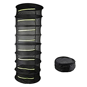 Herb Drying Rack, 8 Layer Black Collapsible Nylon Plant Hanging Mesh Drying Rack Net Hanging with Yellow Zipper