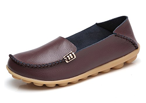 VenusCelia Women's Natural Comfort Walking Flat Loafer(8 M US,Brown)