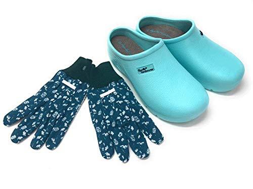 Trachten-Dirndl-More Damen Clogs & Pantoletten mit Gartenhandschuhen Verschiedene Designs Blumen, Uni,Punkte (hellblau, Numeric_38)