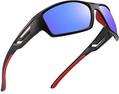 Gafas de sol polarizadas deportivas para hombres y mujeres, gafas de sol de conducción para ciclismo, correr, pesca, marco irrompible (C3 lentes azules/Cat 3)