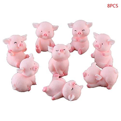 ATATMOUNT 8Pcs / Set Modellierung Nette Piggy Lucky Pink Pigs Hausgarten Ornament Spielzeug Bonsai Micro Landscape Decor