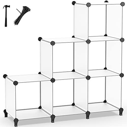 Cube Bookcase, 6 Cube Storage Unit Bookshelf Storage Cube Organiser Multi-Use DIY Storage Cube Shelf for Books, Toys, Clothes, Tools