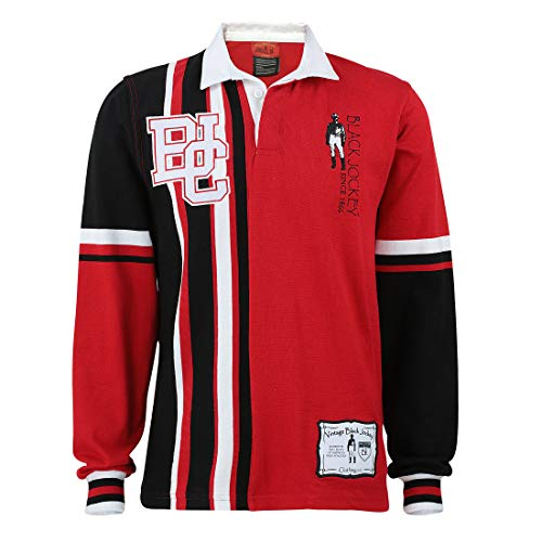 Team BJC Knitted Rugby Jersey Made Natural Cotton (4XL) Red and Black