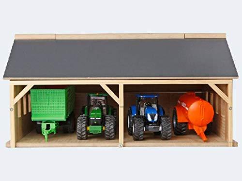 Kids Globe Bauernhofschuppen Scheune 1:50 (Bauernhofspielzeug aus Holz, für Traktoren und Anhänger, Größe 25,3x33,4x16,7 cm, Dach klappbar) 610047