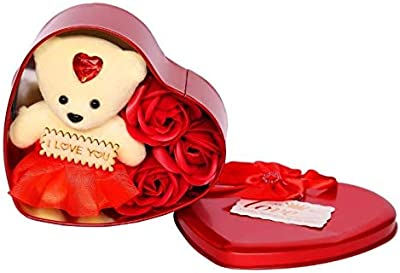 Valentine Year Best Love Gift for Girls/Boys Heart Shape and Red Rose Soap Flower Petals with Box & Soft Teddy Bear