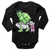 OKIWOKI MCU Lustiges Schwarz Langärmliges Baby Strampler - Der unglaubliche Hulk (MCU Parodie) (Ref:1130)