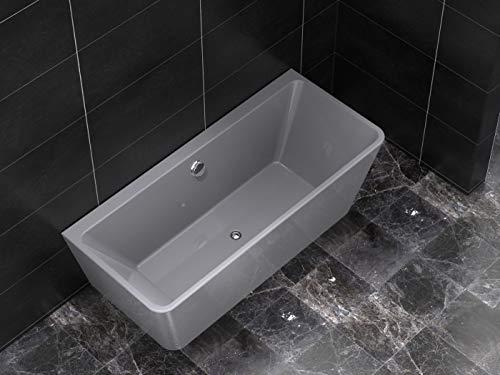 Freistehende Badewanne aus Acryl COMODO rechteckig grau 170x75x58 cm