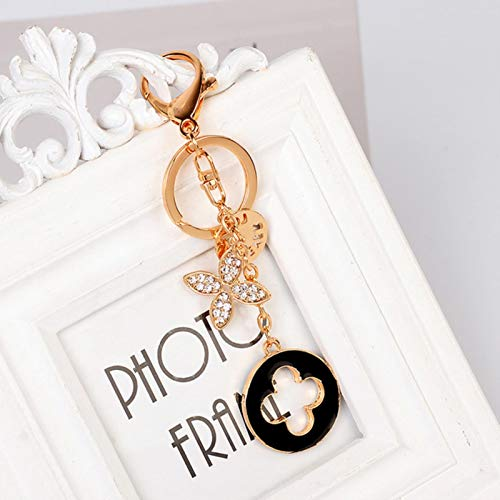 LIUL Clover Keychain Exquisite Metal Fashion Car Pendant Key Ring Fashion Women's Bag Charm Gift