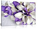 Impression sur toile Motif bouquet de fleurs Blanc/violet foncé, violet, 91x61cm (36x24in)