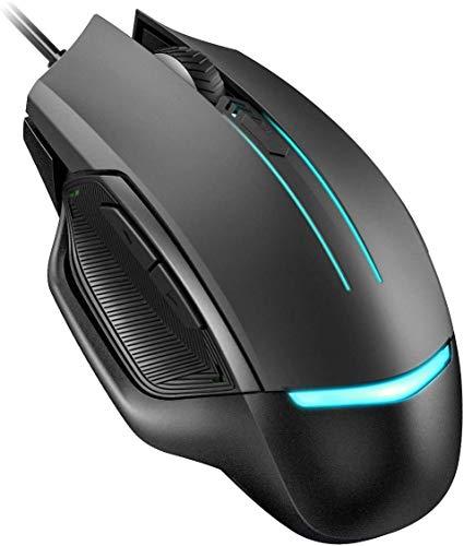 Gaming Tastatur LED PICTEK mit 26 Tasten Anti-Ghosting, ergonomische Wired Keyboard mit Verstellbarer Rainbow Licht, ultradünne wasserdicht ideal für Gamer, PC|Windows, DE Layout