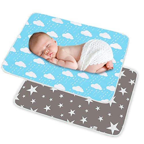 SACONELL Tragbare Wickelunterlage, 50 x 70 cm, für Neugeborene und Kleinkinder, wasserdicht, wiederverwendbar, multifunktional, waschbar, für Zuhause und Outdoor, Reisen, 2 Stück