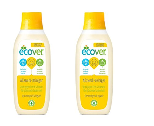 Ecover Allzweck-Reiniger Zitronengras, Ökologische Premiumqualität seit 1979, 2 Flaschen à 750ml