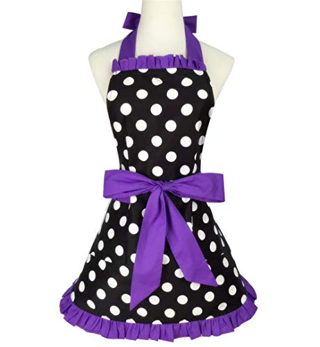 Cute Apron Retro Lacy Vintage Cooking Apron with Pockets for Women (Purple 2)