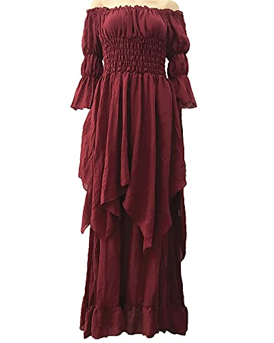 LY-VV - Vestido medieval para mujer, talla grande, con hombros descubiertos, estilo renacentista - Rojo - S