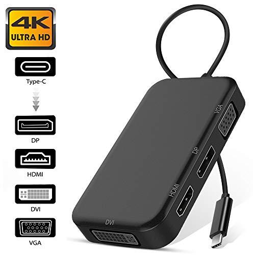 USB C Multiport Displayport Adapter, Weton Type C auf 4K HDMI DVI DP und 1080P VGA 4 in 1 Mini Display Port Hub Konverter für MacBook Pro Samsung Huawei HP Tablet Laptop