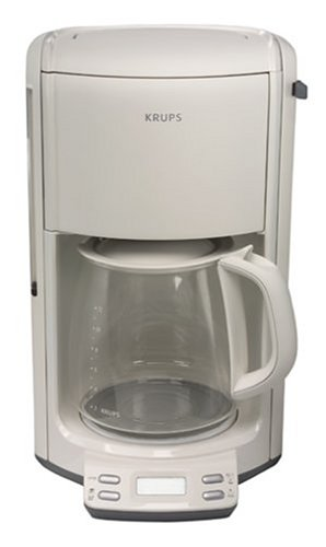 Krups FME2-11 Programmable Coffeemaker with Glass Carafe, 12-Cup, White