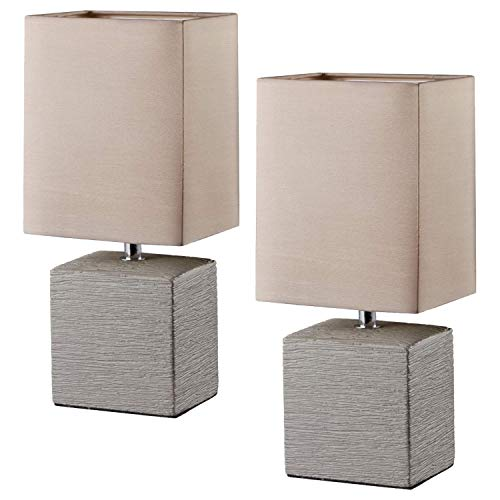 2er SET R50131026 Tila PING braun Tischleuchte Nachttischleuchte Stehleuchte Lampe 1x E14 max. 40 Watt
