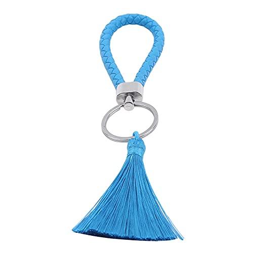 ZIYUYANG Llavero, bolso con borlas para mujer, accesorios de joyería, llavero de coche, llavero de tela PU, LakeBlue