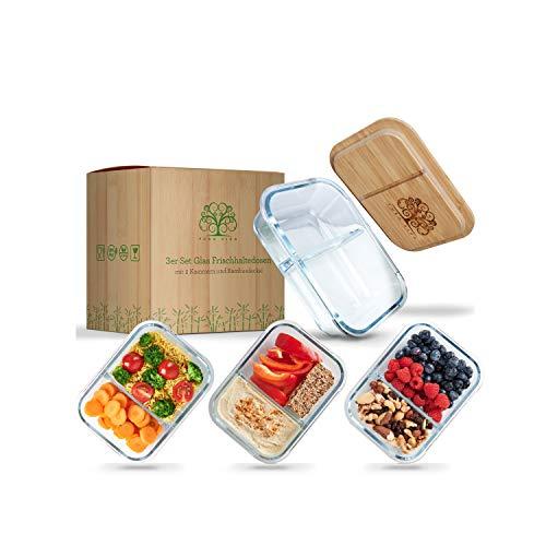 Pura Vida - Glas Frischhaltedosen - 3 große Meal Prep Boxen mit 2 Kammern zur getrennten Aufbewahrung von Speisen mit Deckel aus 100% nachhaltigem Bambus - Komplett ohne Plastik und Weichmacher