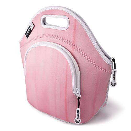 Neoprene Lunch Bag for Women - The Norma Jean by LunchFox - Blush Pink Insulated Lunch Bags/Totes - (The Original) Ultra Thick Neoprene Lunch Tote - The Eco Friendly Adult 'Lunch Box' for Work/Play
