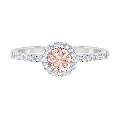 Anillo solitario, piedra preciosa redonda de 0,77 quilates, diamante HI-SI 5 mm creado en laboratorio, anillo de oro de halo, anillo de promesa, joyería para ella, 14K Oro blanco, Size:EU 53