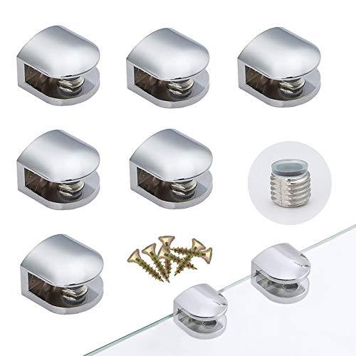 Clip Specchio Bagno Vetro Clip 8 Pezzi Morsetto di Vetro Lega di Zinco Mensola Staffe Supporto Vetro Clip Banco da Lavoro Hotel con Viti per Vetro di Spessore 3-6MM Ufficio per Casa
